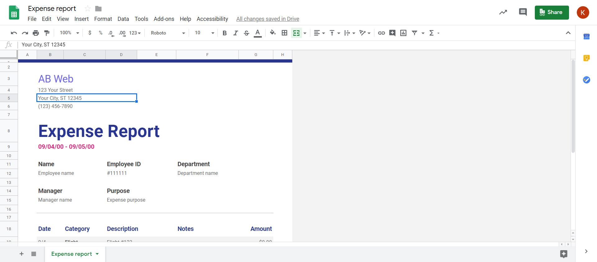 google-sheet-template-being-edited