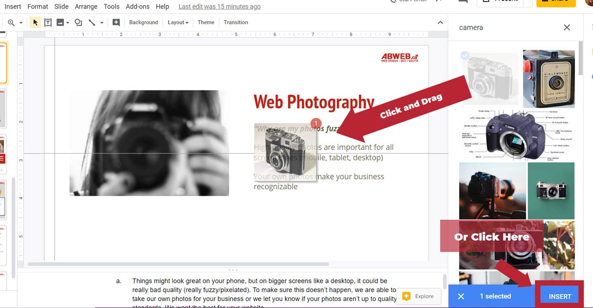 useful google slide tip for using the google search to find images